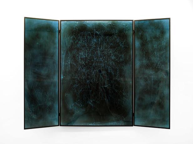 EDWARD LIPSKI Mystical Vandalism Triptych I, 2017 mirror perspex, custom car paint, steel 170 x 226 cm