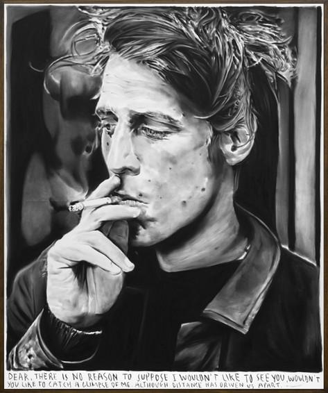 RINUS VAN DE VELDE Dear, there is no reason...., 2019 charcoal on canvas, artist frame 180 x 150 cm