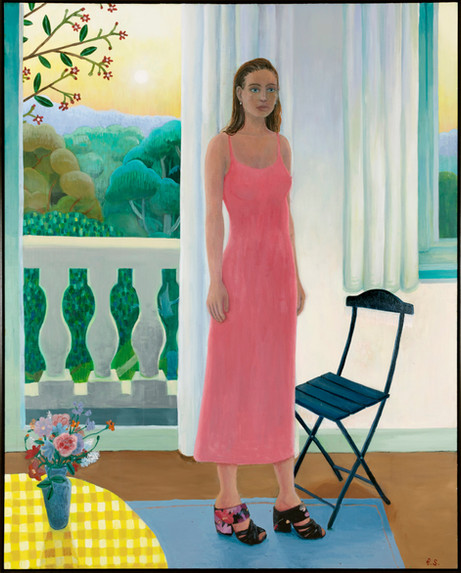 BEN SLEDSENS Girl by the Balcony, 2019 oil and acrylic on canvas 200 x 160 cm
