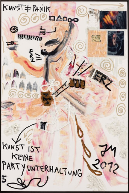"""JONATHAN MEESE, """"PROLLOTUS BRÜLLT: KUNST UNGLEICH MENSCHENSELBSTMITLEID, KUNST IST IMMER ANGRIFF AUF JEDE KACKIDEOLOGIE"""", 2012"""