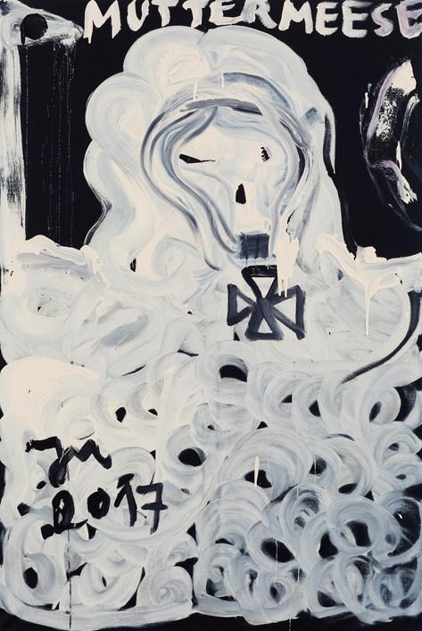 "JONATHAN MEESE DR. MUTTER ""DEUTSCHLANDIRN"" PANIERT DEUTSCHLAND IDEOLOGIELOS, WIE POPEYE'S OLIVIA DE LARGE!, 2017 acrylic on canvas 210,5 x 140,3 x 3,3 cm"