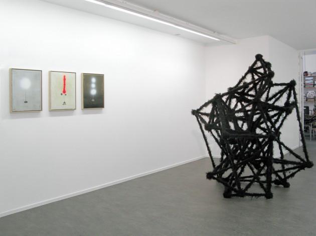 """NORBERT SCHWONTKOWSKI: """"Entwurf für eine Skulptur (Single Bread)"""", 2008 oil on canvas - 50 x 40 x 2,2 cm  NORBERT SCHWONTKOWSKI: """"Entwurf für eine Skulptur (Lama)"""", 2008 oil on canvas - 50 x 40 x 2,2 cm  NORBERT SCHWONTKOWSKI: """"Entwurf für eine Skulptur (Trinity)"""", 2008 oil on canvas - 50 x 40 x 2,2 cm  HENK VISCH: """"Sticks and stones will brake your bones. Clap your hands Nr. 2"""", 2008 fabric, metal, polyester - h:200cm - piece unique"""