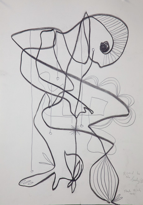 HENK VISCH Road to the body #2, 2021 crayon, and pencil on paper 42 x 29,7 cm