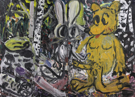 ARMEN ELOYAN Rabbit and Bear or Bear and Rabbit, 2011 oil on canvas 160 x 220 cm