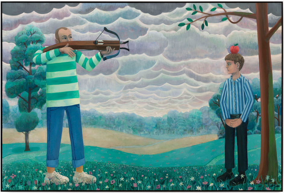 BEN SLEDSENS Shooting Apples, 2019 - 2020 oil and acrylic on canvas 200 x 300 cm