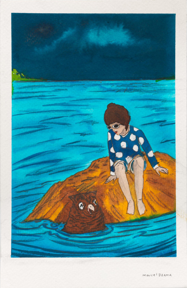 MARCEL DZAMA A friend in the water., 2020 Ink, watercolor, and graphite on paper 21,5 x 14 cm