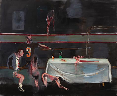 AARON VAN ERP Tafel met inktvis, 2020 oil on canvas 140 x 170 cm