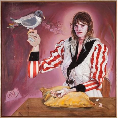 KATI HECK Selbst mit Vogel, 2019 oil on stitched canvas, artist frame  120 x 120 cm