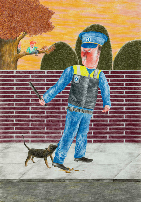 DENNIS TYFUS The Wall , 2020 colored pencil on paper 100 x 70 cm 110,3 x 80,8 x 4 cm (frame)