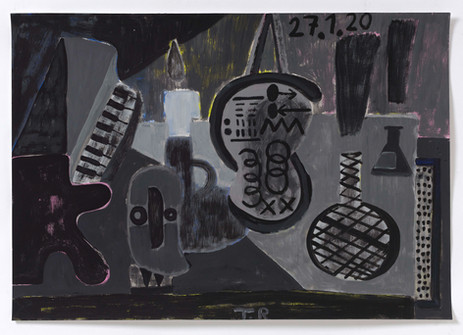 TAL R Piano, matemathique & labyrint, 2020 gouache on paper 72 x 102 cm