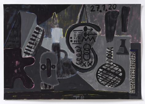 TAL R Piano, matemathique & labyrint, 2020 gouache on paper 72 x 102 cm