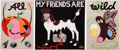 KATI HECK Festplakat (All my friends are wild), 2019 cotton 296 x 701 cm unique