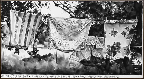 RINUS VAN DE VELDE On these scarce days..., 2019 charcoal on canvas, artist frame 121 x 220 cm