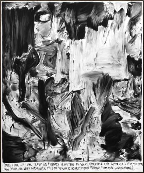 RINUS VAN DE VELDE Coming from this long tradition..., 2018 charcoal on canvas, artist frame 240 x 200 cm