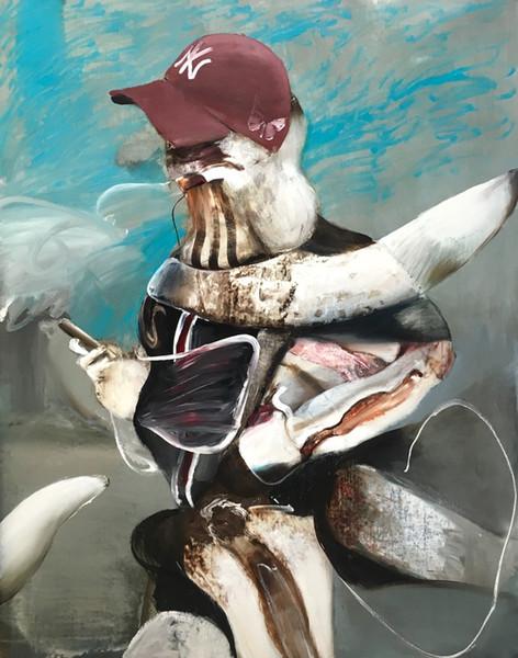 ADRIAN GHENIE Self-Portrait with iPhone, 2018 oil on canvas 140 x 110 cm