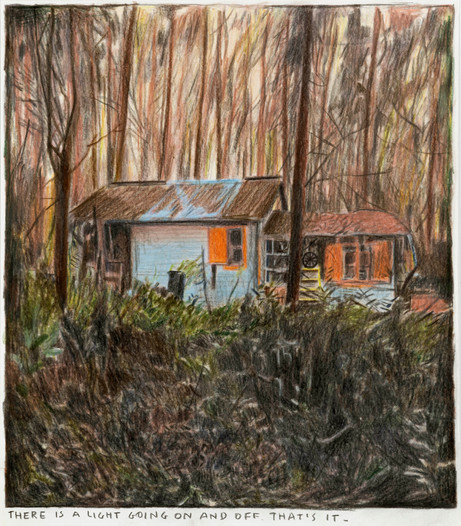 RINUS VAN DE VELDE There is a light going on and off., 2020 colored pencil on paper, artist frame 29,5 x 25,6 cm