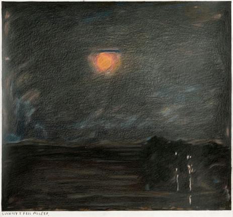 RINUS VAN DE VELDE Luckily I fell asleep., 2020 colored pencil on paper, artist frame 37,6 x 40,2 cm