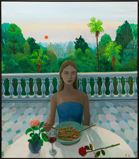 BEN SLEDSENS A Rose at the Dinner Table, 2020-2021 oil and acrylic on canvas 150 x 130 cm