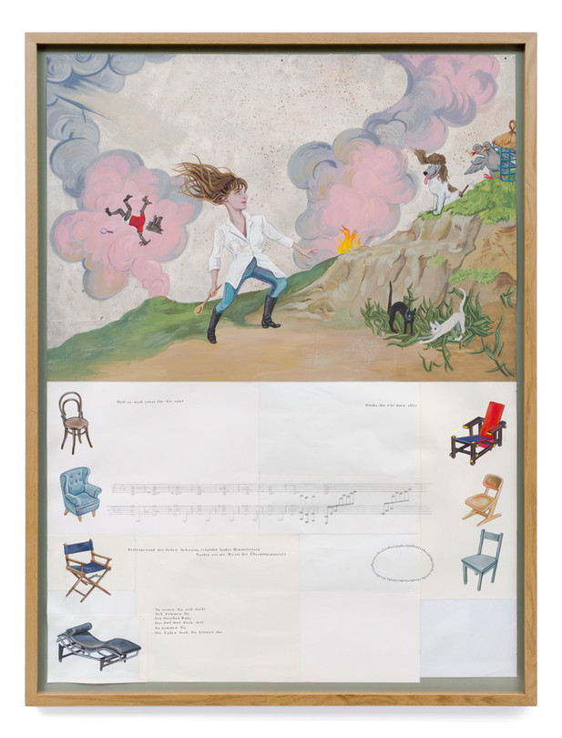 KATI HECK Great Piggy II, 2020 gouache, pencil, watercolour pencil and letraset on prepared sewed paper 161 x 120 cm