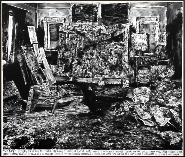 RINUS VAN DE VELDE The day I decided to leave my studio for good..., 2018 charcoal on canvas 220 x 260 cm