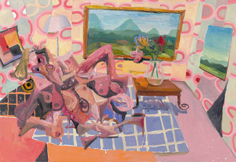 ANTON HENNING Interieur mit Pin-up, No. 3, 2018 oil on canvas 183,2 x 267 cm