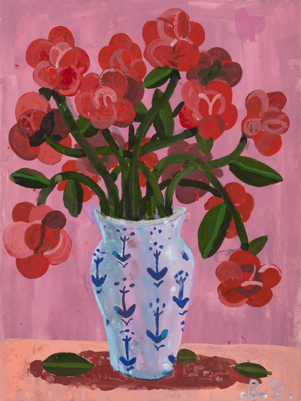 BEN SLEDSENS, Red Flowers in a Vase, 2018