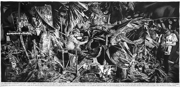 RINUS VAN DE VELDE Deep in the jungle of our fiction,..., 2015 charcoal on canvas 300 x 600 cm
