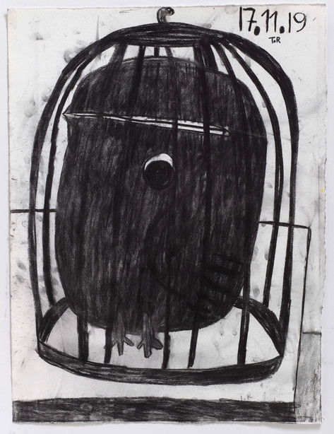 TAL R Tuesday, 2019 charcoal on paper 76 x 57 cm