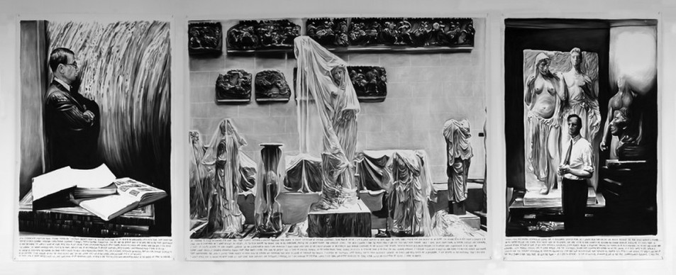 RINUS VAN DE VELDE, A triptych about a project I was promised where I could work with some of the finest specimen of Hellenistic and Roman sculpture, 2011