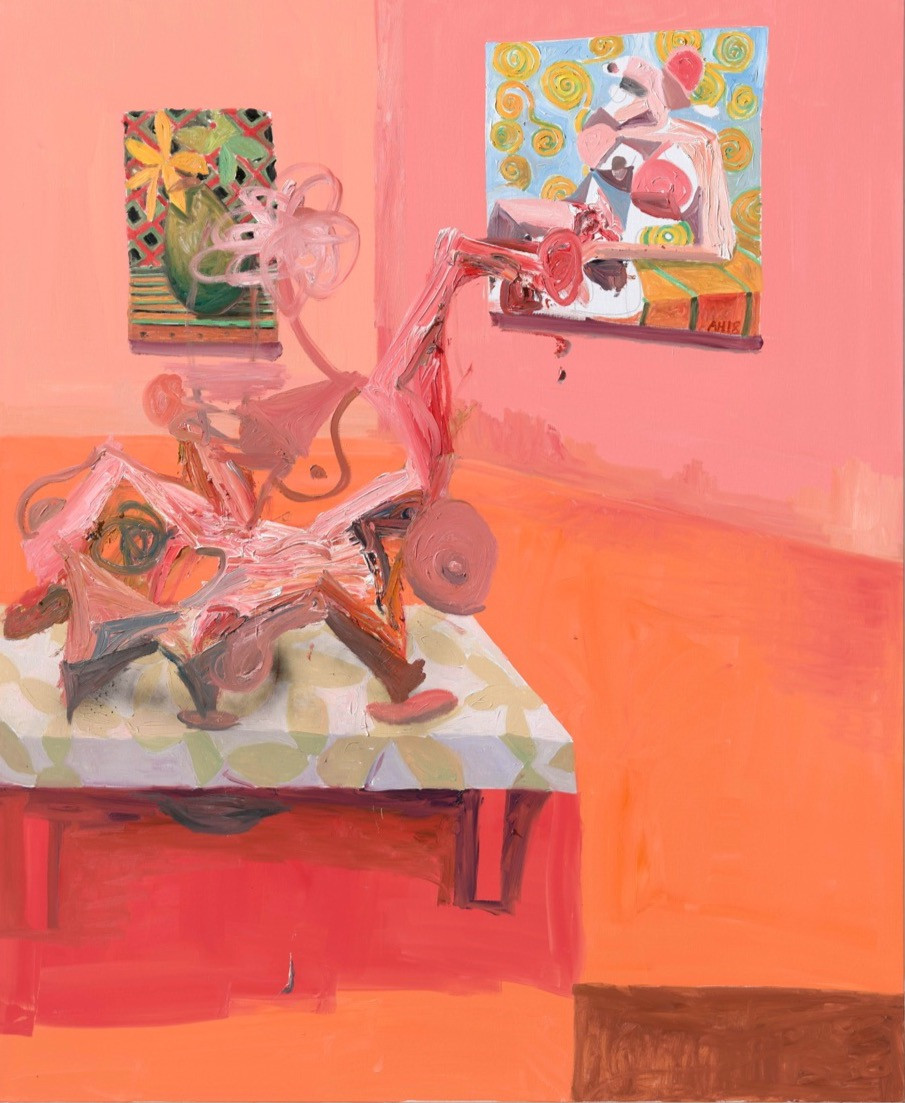 ANTON HENNING Interieur mit Pin-up, No. 4, 2018 oil on canvas 220,5 x 180 cm