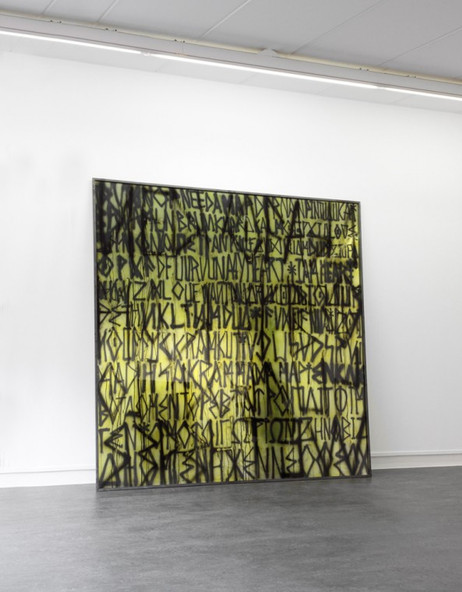 EDWARD LIPSKI Yellow Incantation, 2011 mirror perspex, custom car paint, steel 200 x 200 cm