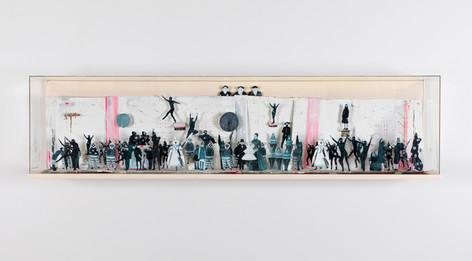 MARCEL DZAMA The long blue line, 2013 cardboard, tape, gouache, and graphite 35,6 x 142,6 x 17,8 cm (Diorama), 31,8 x 137,2 x 12,7 cm (Cardboard)