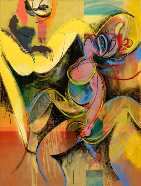 DANIEL RICHTER Vorkriegszeit + Männemilch, 2017 oil on canvas 210,5 x 160,3 cm