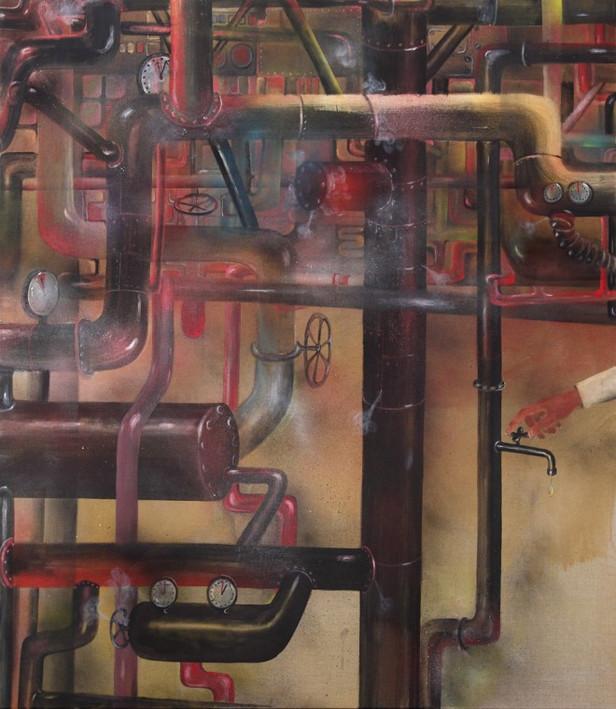 TOMASZ KOWALSKI The Drop, 2013 acrylic and oil on canvas 160 x 140 x 4 cm