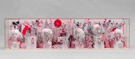 MARCEL DZAMA The grandmasters hall of fame, 2014 - 2020 cardboard, tape, gouache, papier-mâché, and graphite 35,6 x 142,9 x 17,8 cm