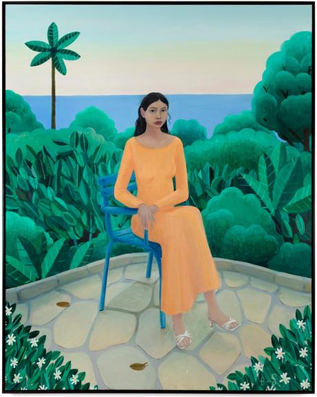 BEN SLEDSENS Girl in Peach Dress, 2019 - 2020 oil and acrylic on canvas 190 x 150 cm