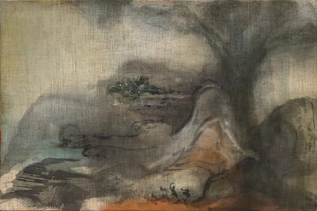 LEIKO IKEMURA Chaos, 2014 tempera on jute 100 x 150 cm