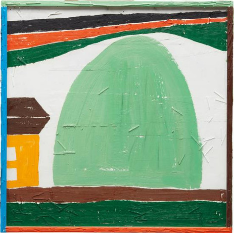 TAL R Rock, 2003 oil on paper on found wood, in artist's painted wood and glass frame 83.2 x 83.2 cm