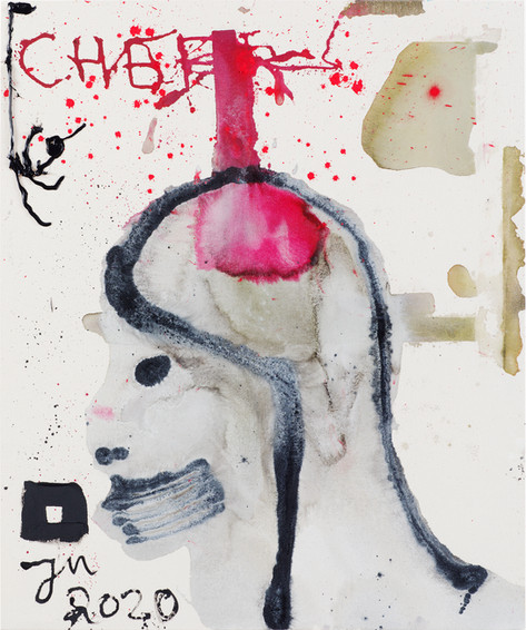 JONATHAN MEESE THE BRAIN OF LOVE!, 2020 acrylic on coarse untreated cotton cloth 120,5 x 100,3 x 3,3 cm