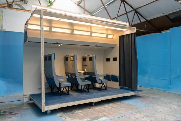 RINUS VAN DE VELDE Prop, Airplane, 2018 cardboard, paint, wood and mixed media 306 x 410 x 220 cm