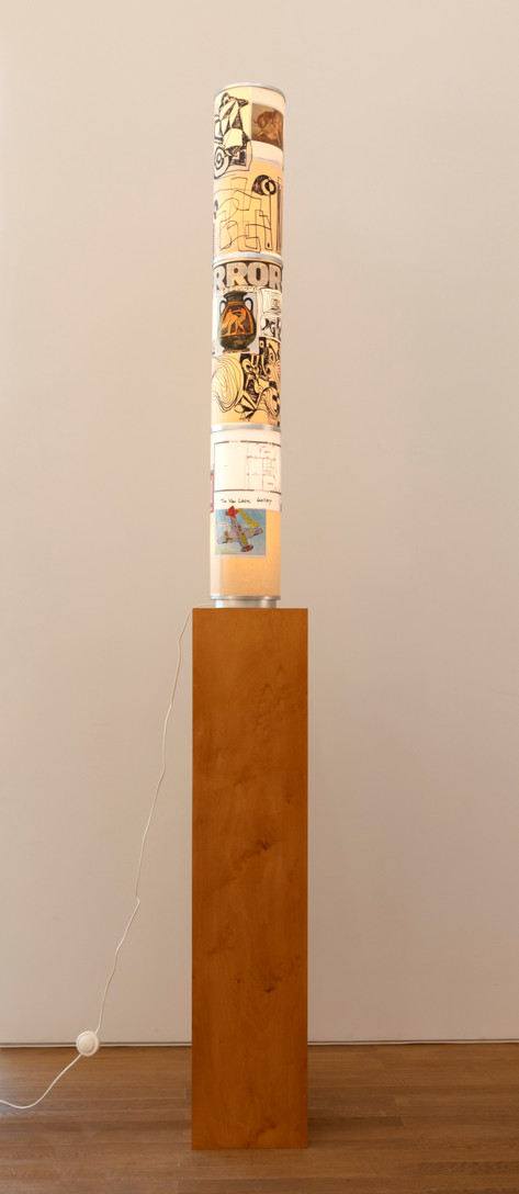 ANTON HENNING Stehlampe No. 12, 2019 metal, plastic, printed paper, marker on paper 138 x ø19 cm