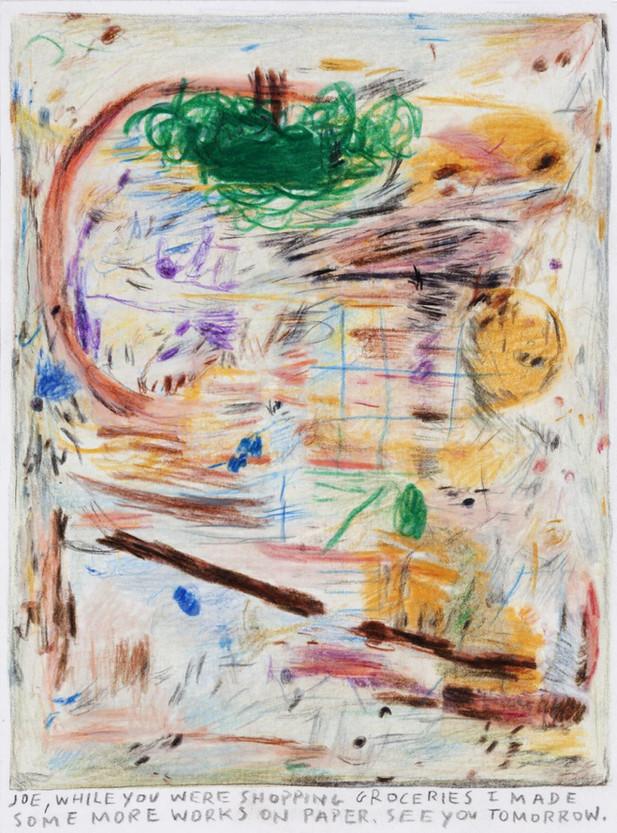 RINUS VAN DE VELDE Joe, while you were shopping groceries.., 2018 color pencil on paper 18 x 13,5 cm