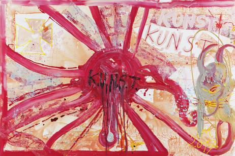 """JONATHAN MEESE DIE NEUE RADIKALSTE HERRSCHAFTSFORM """"K.U.N.S.T."""" WURSCHTELT SICH DURCH, WIE SAU..., 2017 acrylic, Caparol-dispersion binder and acrylic gel on canvas 200 x 300 x 4,3 cm"""