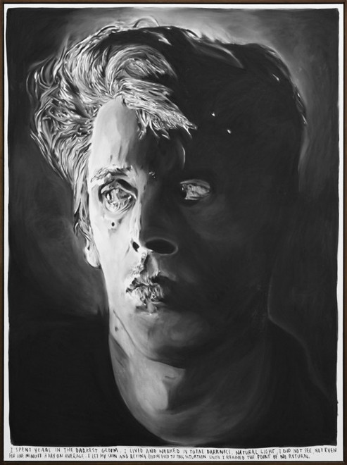 RINUS VAN DE VELDE, I spent years in the darkest gloom, I lived and worked in total darkness. Natural light, I did not see, not even for one minute a day on average.  I let my skin and retina become used to this situation until I reached the point of no return, 2015