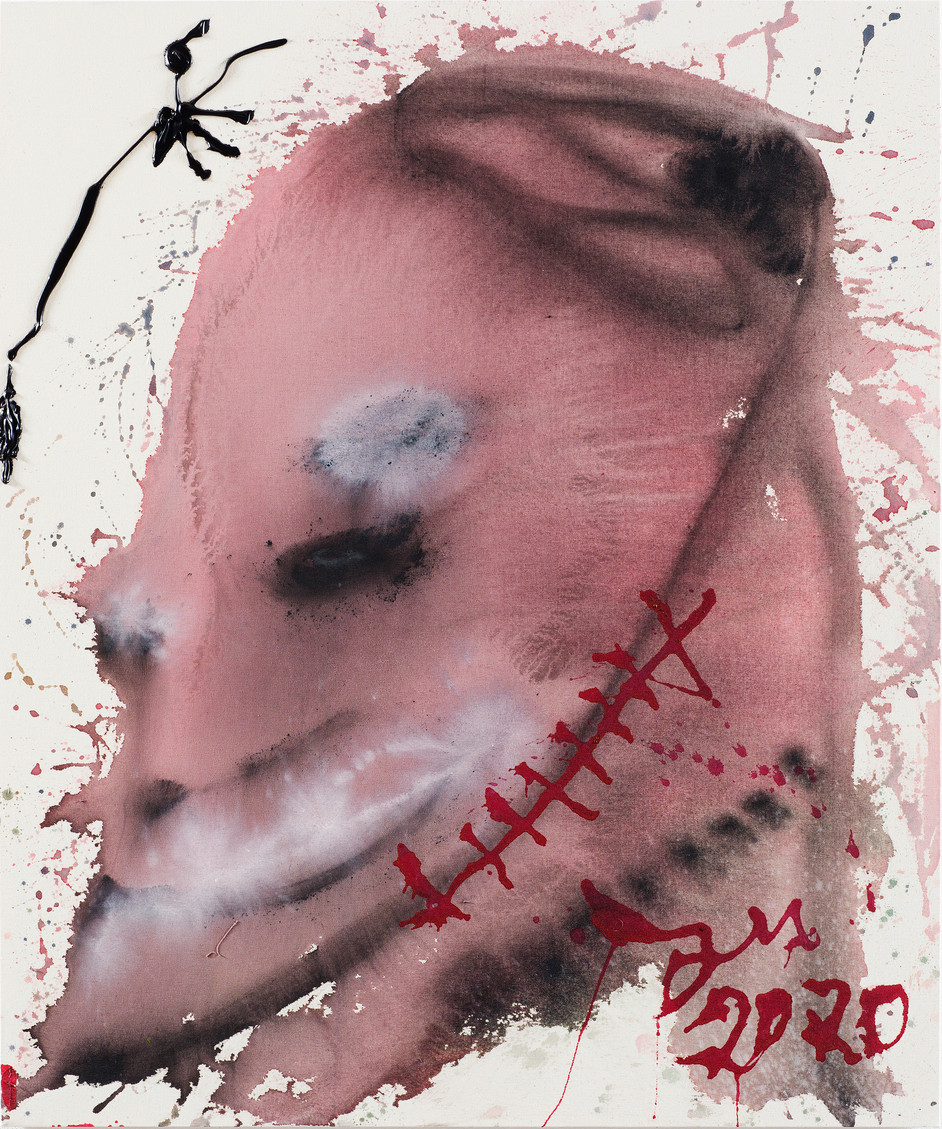 JONATHAN MEESE DANCING BLIZZARD!, 2020 acrylic on coarse untreated cotton cloth 120,5 x 100,3 x 3,3 cm