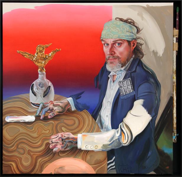KATI HECK Achilles am Drücker, 2016 oil on canvas, brush, framed 120 x 127 cm