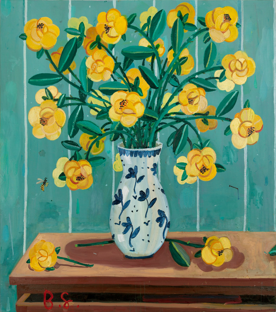 BEN SLEDSENS, Wasp and Yellow Flowers in a Vase, 2018