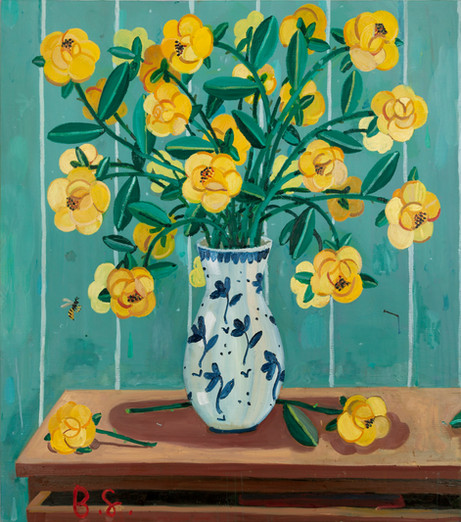 BEN SLEDSENS Wasp and Yellow Flowers in a Vase, 2018 oil and acrylic on canvas 100 x 90 cm