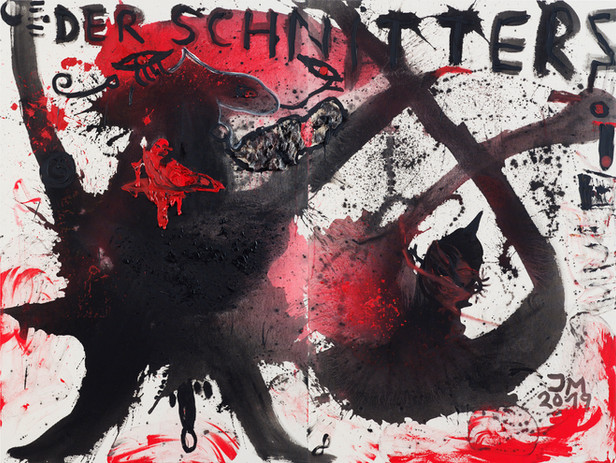 JONATHAN MEESE WER HAT KEINEN DEMOKRATIESCHISS!?, 2019 2 panels, acrylic and mixed media on coarse untreated cotton cloth 210,5 x 280,6 x 3,3 cm