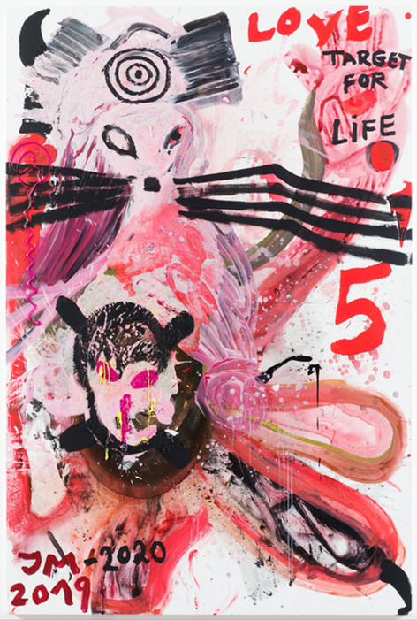 JONATHAN MEESE BABYTARANTULA'S FATHER IS BACK!, 2019 acrylic and dispersion binder on canvas 210,5 x 140,3 x 3,3 cm